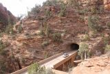 Canyon_Overlook_Trail_011_04042018 - Looking down at a lone car that was able to get through the Zion-Mt Carmel Tunnel as seen from the Canyon Overlook Trail