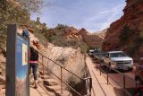 Canyon_Overlook_Trail_121_04042018 - Looking at the traffic jam waiting to get past the Zion-Mt Carmel Tunnel as we had just concluded the Canyon Overlook Trail