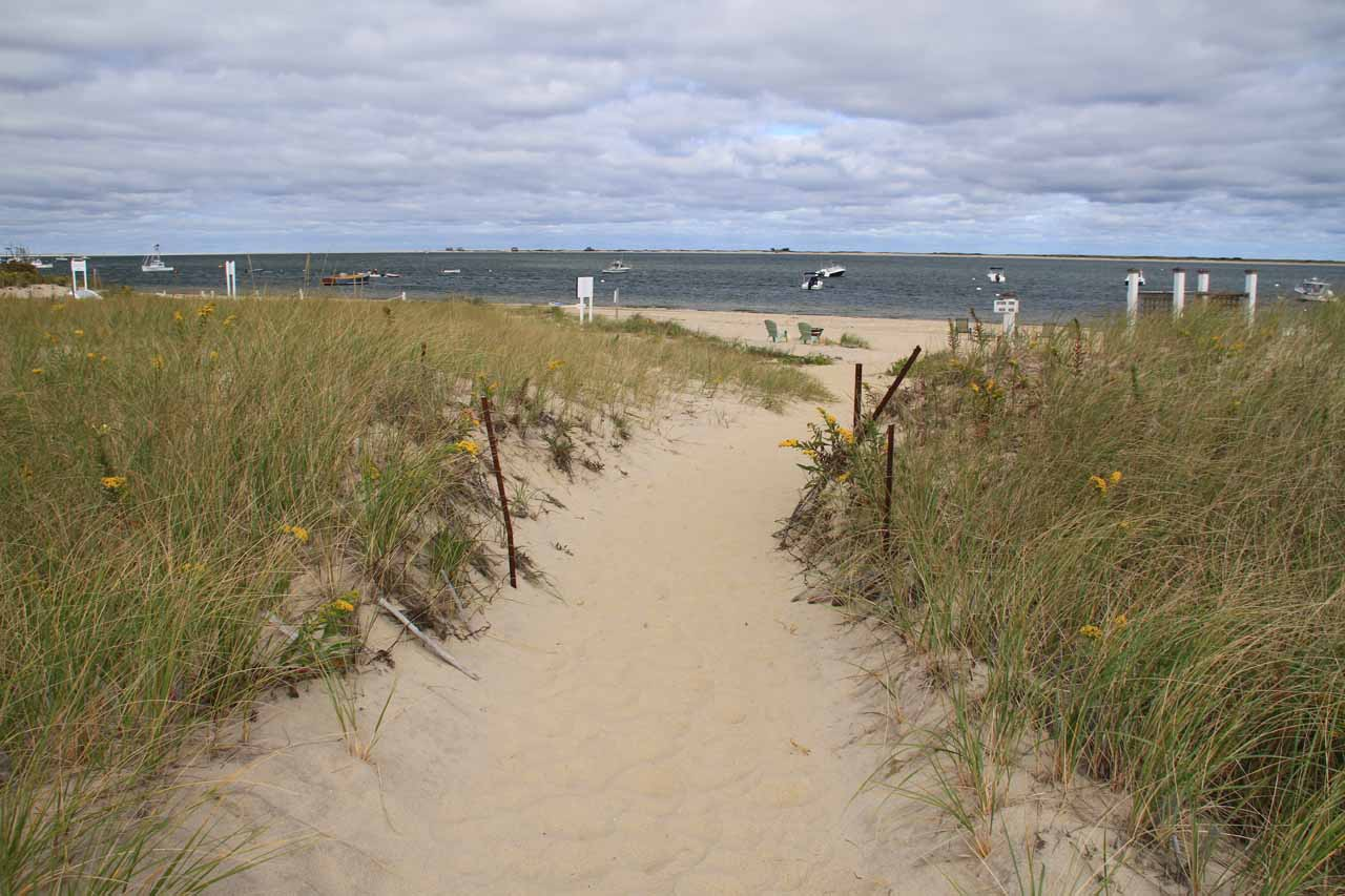 The sandy walkway to the beach at the Hawthorne