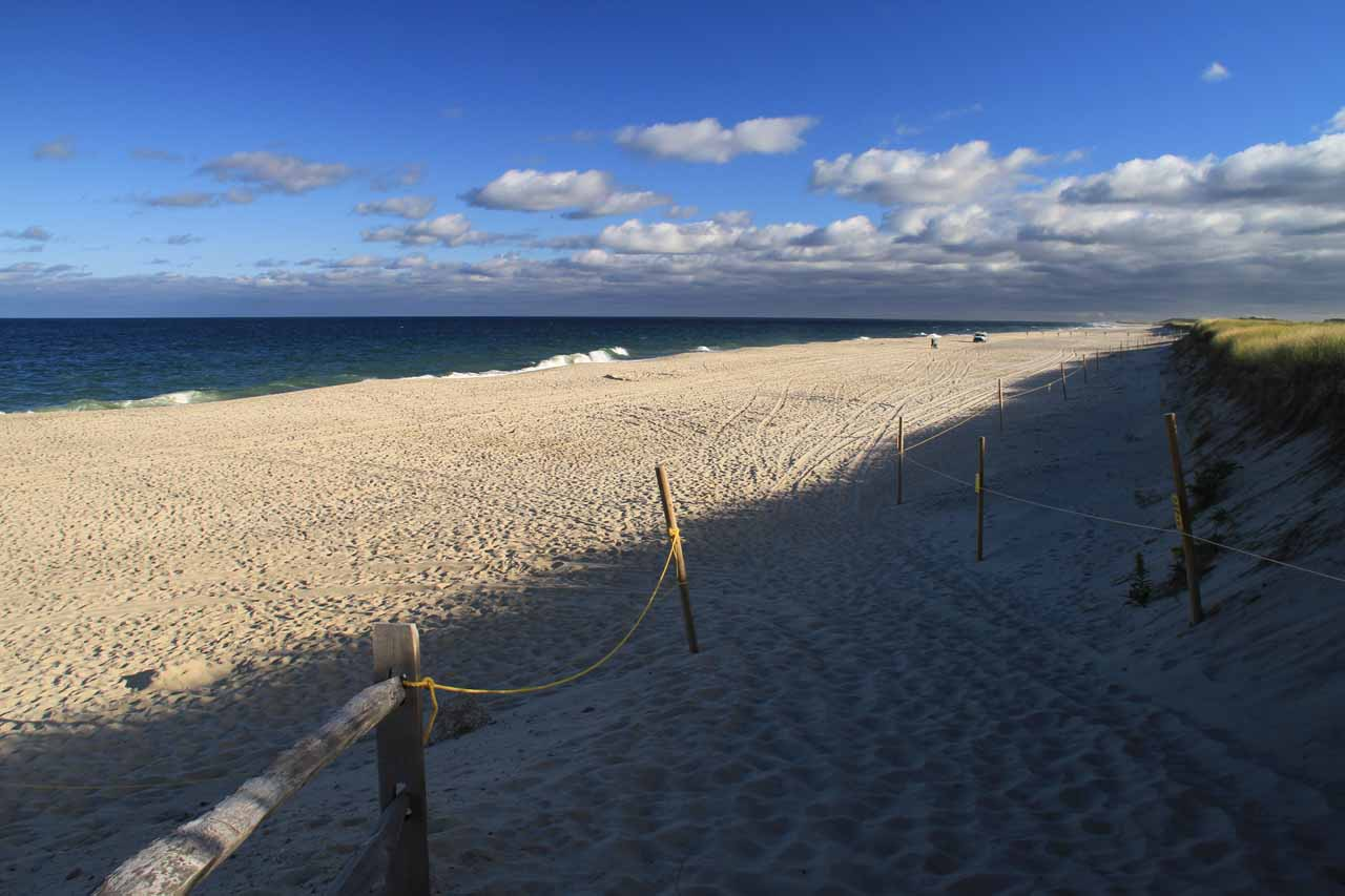 Looking down at the Nauset Beach