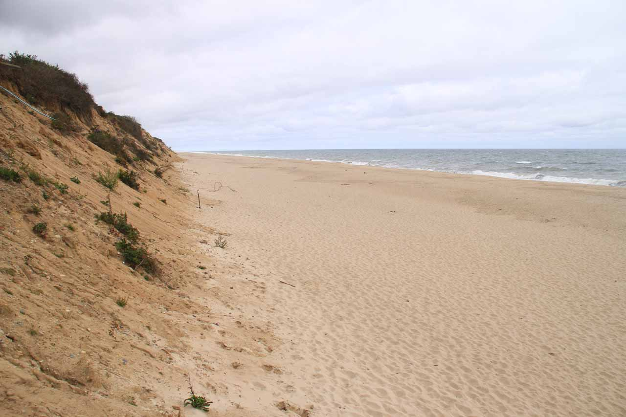 Another look up the mostly empty beach at Nauset Light