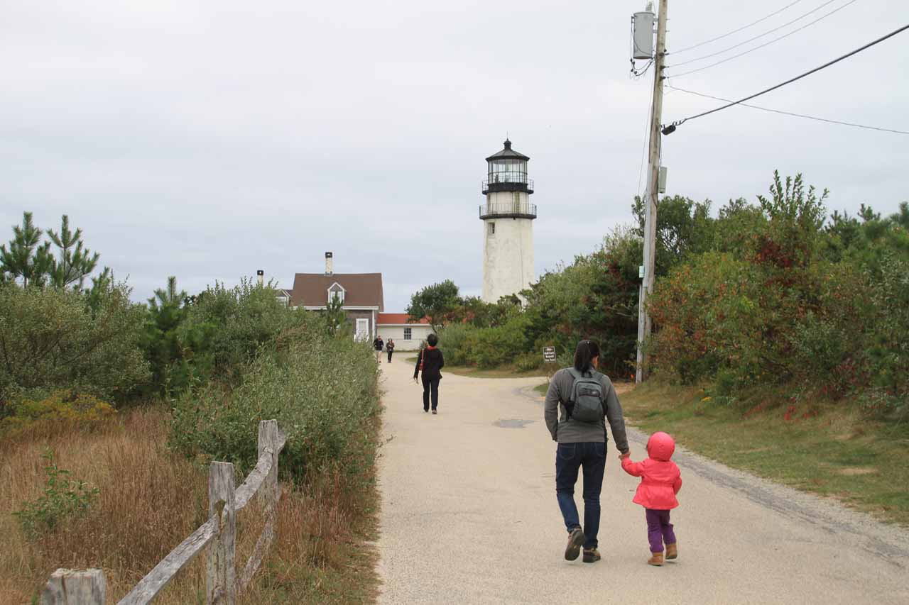 Julie and Tahia walking towards Highland Light