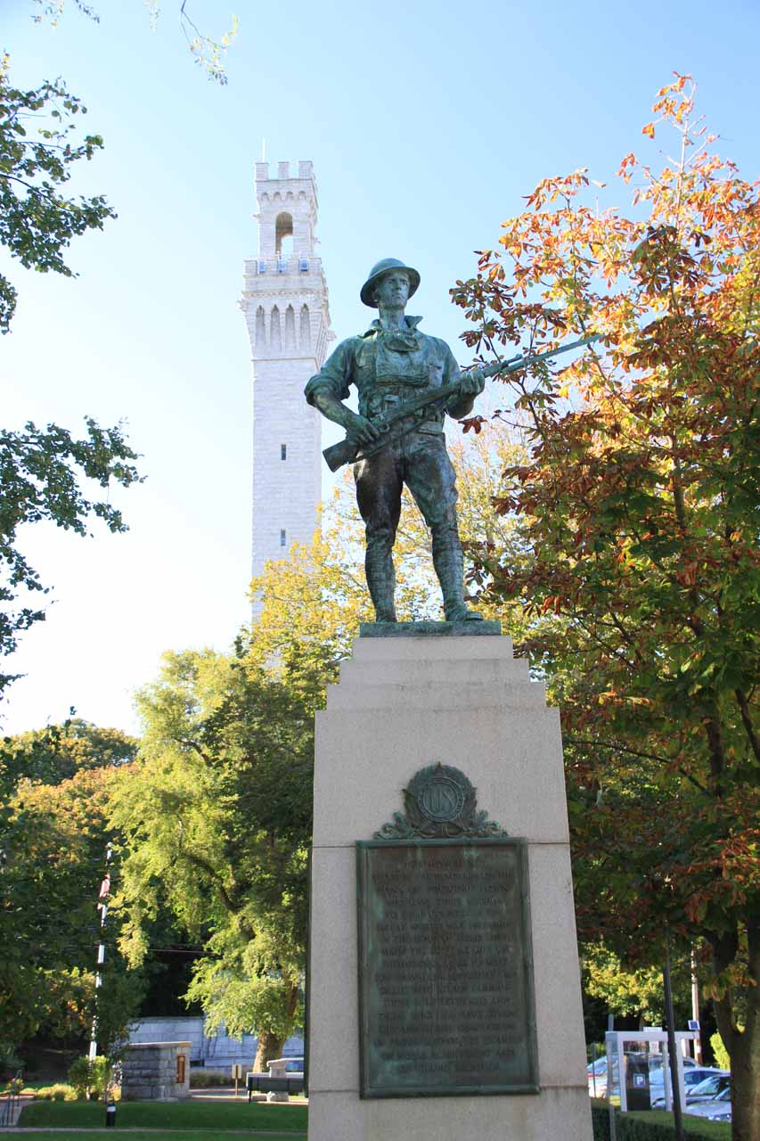 Statue before the Pilgrim Monument by the P-town Town Hall