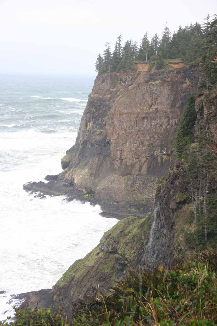 An ephemeral waterfall on the north side of Cape Meares
