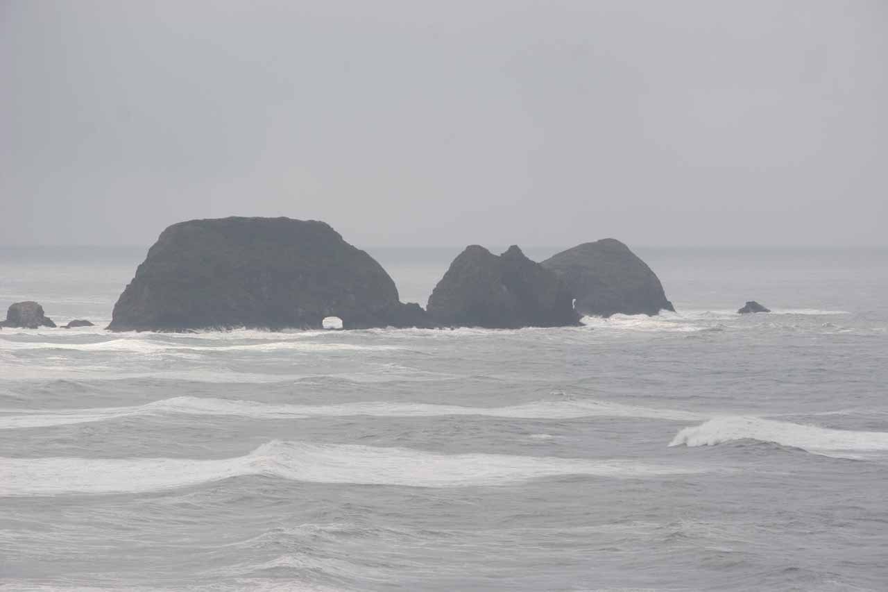 These sea arches beneath the off-shore sea stacks off Cape Meares were one of the attractions of the Tillamook area