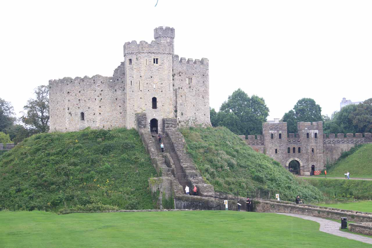 Cardiff, the capital of Wales, was not far from the Brecon Beacons.  The city featured Cardiff Castle, which was actually a series of buildings enclosed by the castle wall such as this keep