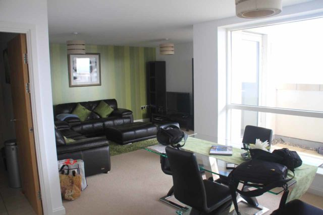 This spacious flat that we booked in Cardiff Bay, Wales in 2014 was one of our biggest scores through Booking.com