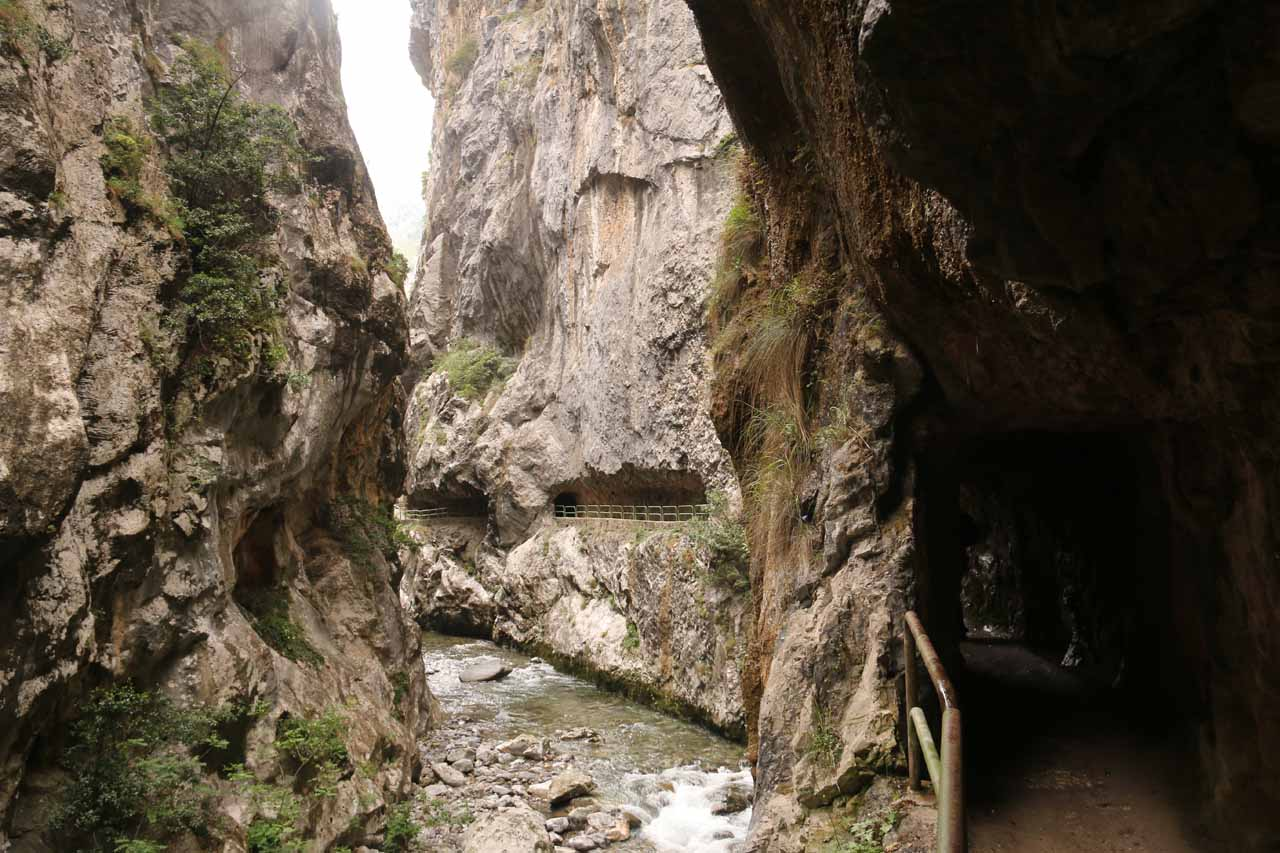 Looking back at tunnels flanking the narrow gorge of Cares