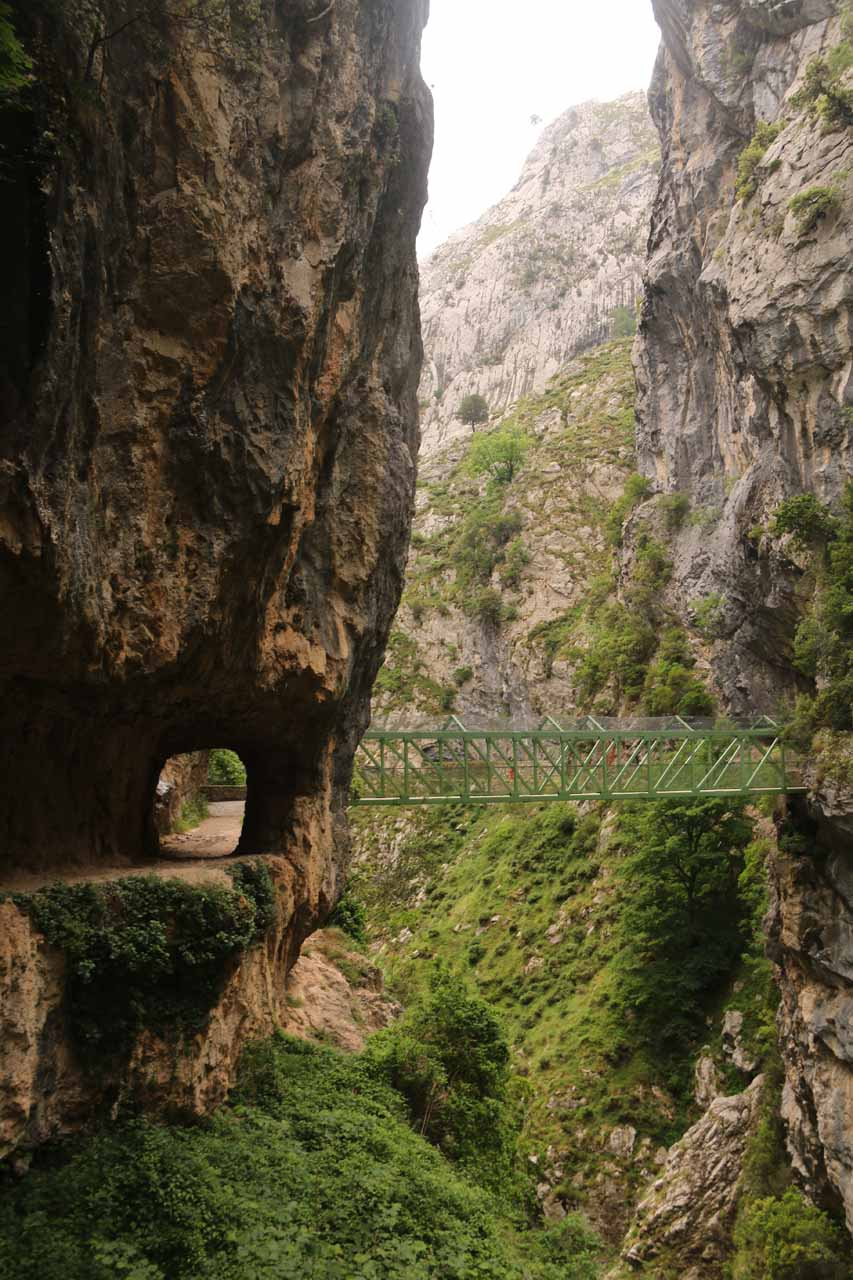The familiar shot of a man-made tunnel next to the Puente de los Rebecos in the Cares Gorge