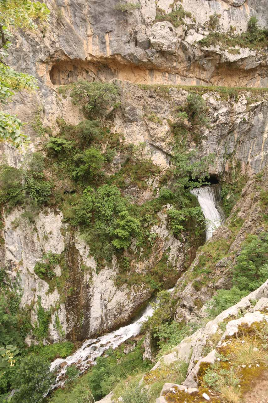 Looking down one of the surprise (albeit man-made) waterfalls from overflowing canal banks in the Cares Gorge