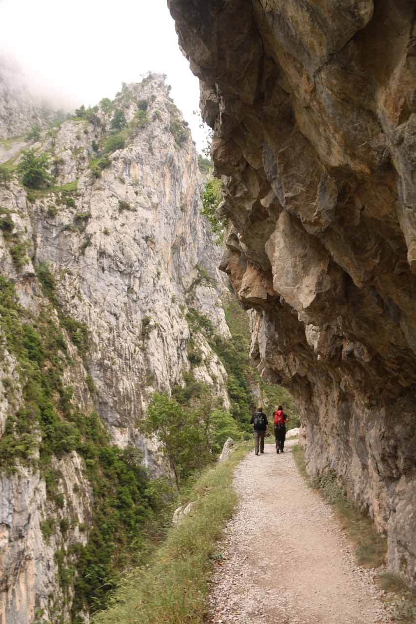 Overhanging cliffs were part of the Cares Gorge hike experience