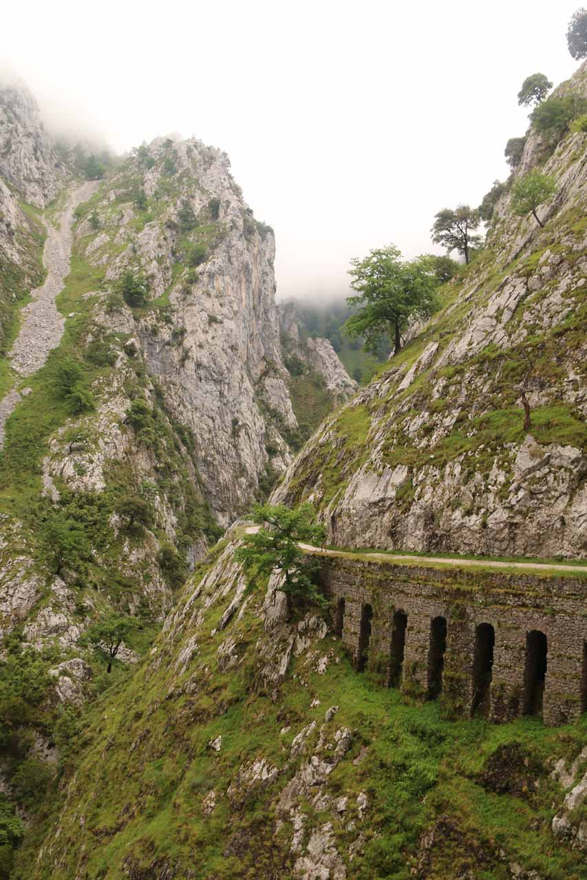 A part of the hike in the Cares Gorge where the trail was on top of tunneled carved out for canals