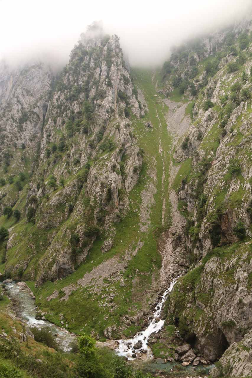 Looking down at one of the few cascades on the main river of the Cares Gorge itself