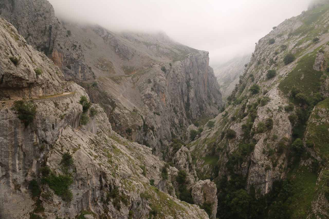 Looking back at the rugged Cares Gorge as I was quickly making my way back to Cain de Valdeon from the natural arch