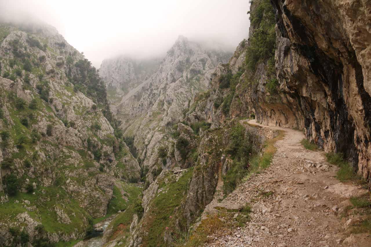 Following the Ruta de Cares back to Cain de Valdeon along ever-exposed cliffs