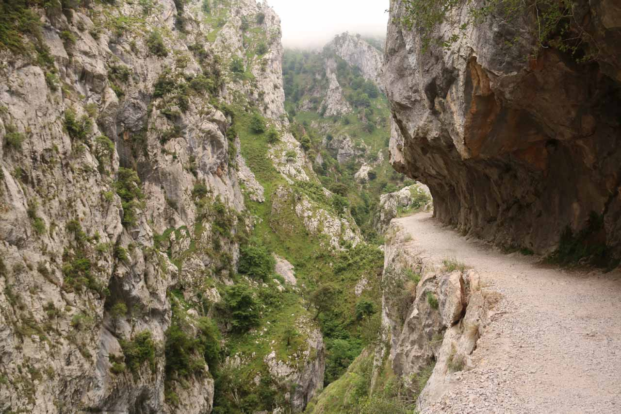 Continuing to follow the trail along cliff-exposed ledges and overhanging cliffs on the Ruta de Cares