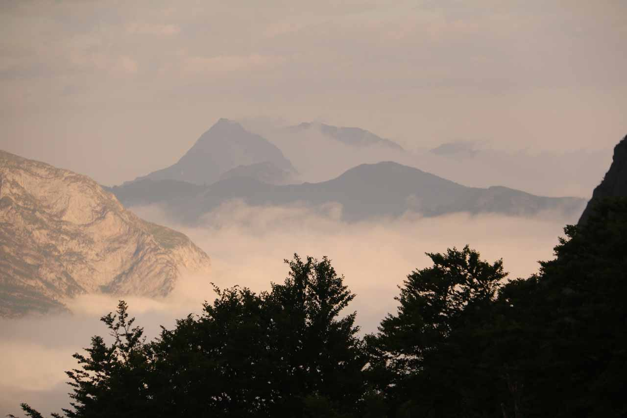 Looking in a different direction towards the Picos de Europa where clouds still dominated