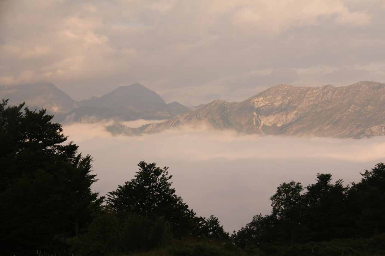 Looking out above clouds towards some other mountains of the Picos de Europa as we were leaving Posada de Valdeon