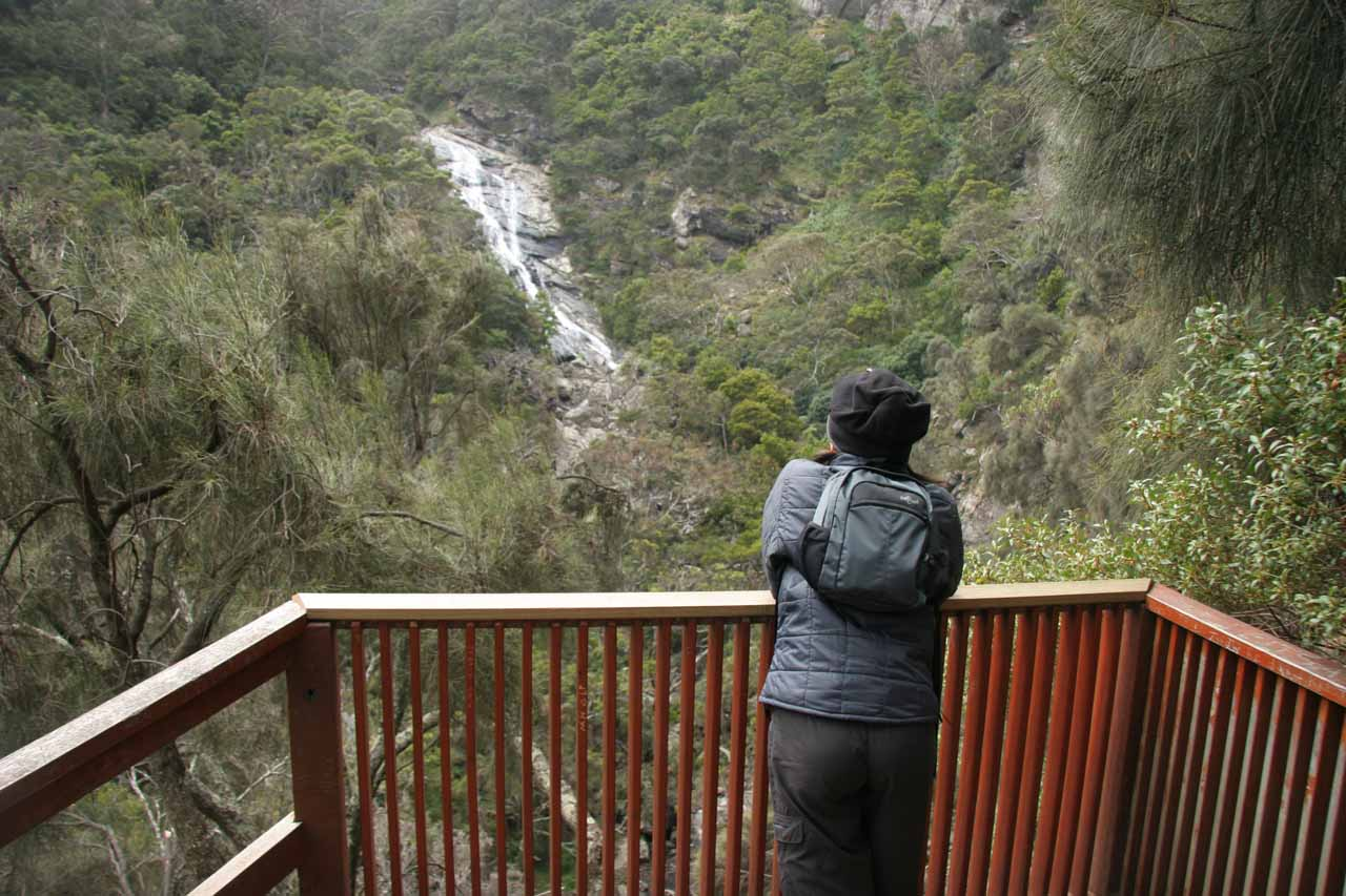 Made it up to the overlook as Julie checks out the view of Carisbrook Falls back in November 2006