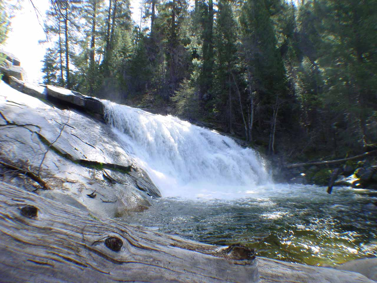 View of Carlon Falls from the end of the trail in 2004. Notice that log in the bottom of this picture was definitely not there in 2017