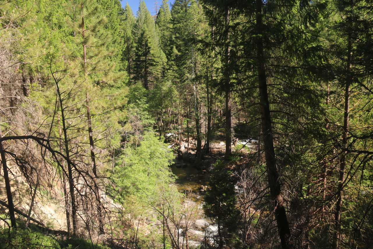 We climbed high enough in that persistent ascending stretch to be able to look down towards a bend in the South Fork Tuolumne River
