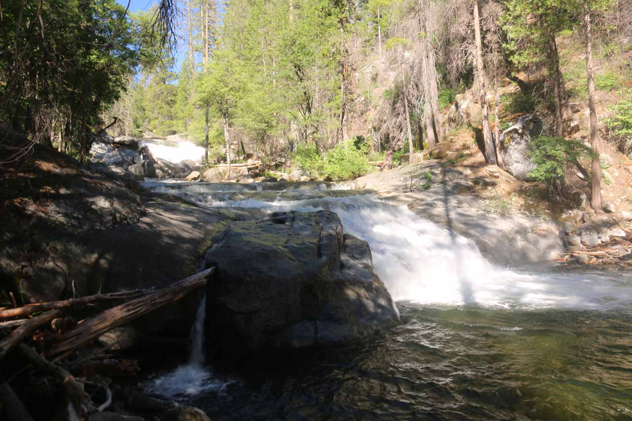 One of the false trails led me down to this view of an intermediate cascade on the South Fork Tuolumne River, but I could see the Carlon Falls further upstream from here