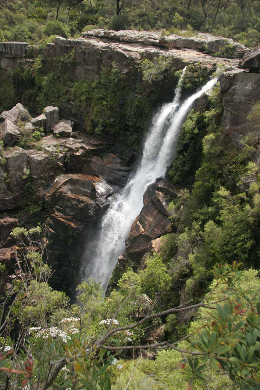 Angled view of the upper parts of Carrington Falls