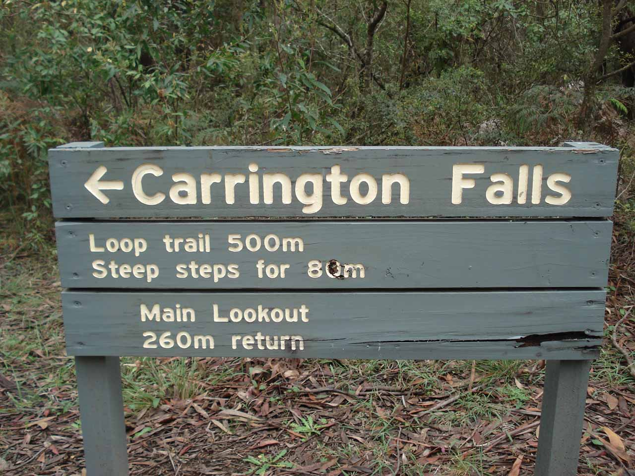 Sign at the start of the walking tracks telling us what was necessary to experience Carrington Falls