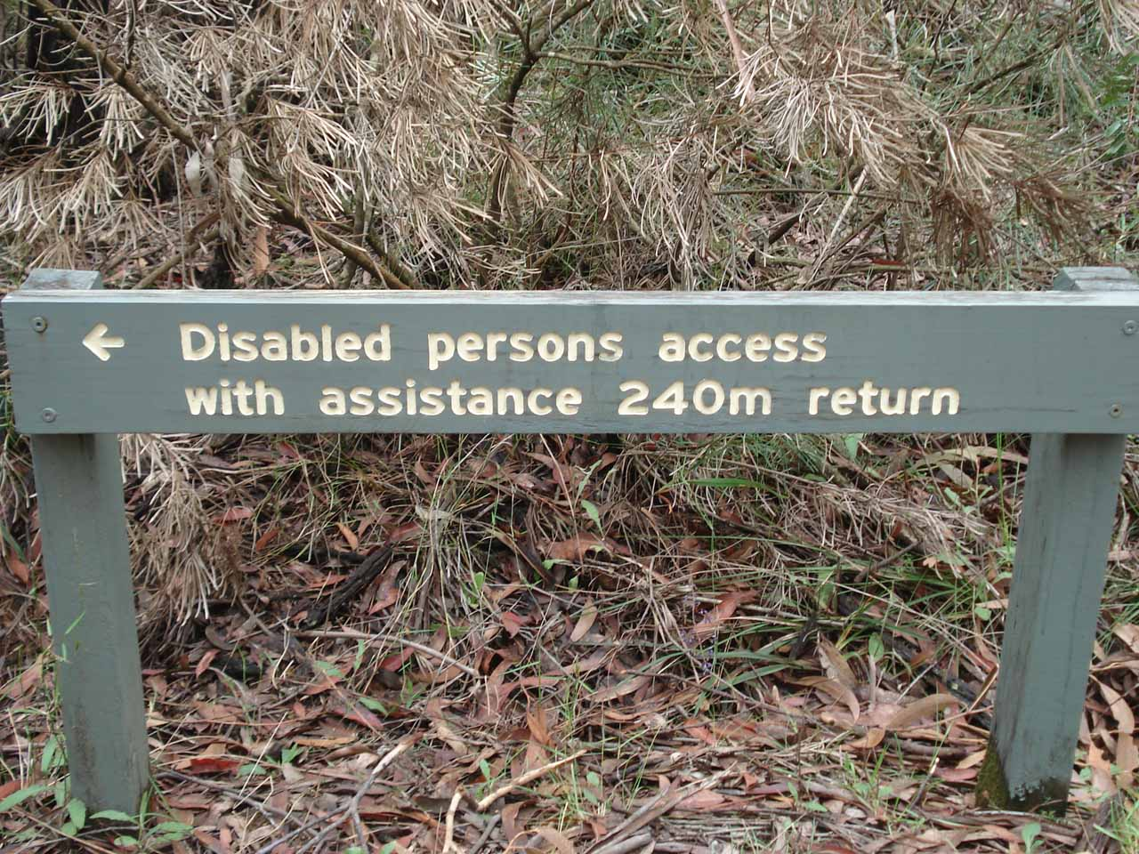 This sign indicated that the short walk to the main overlook was wheelchair-accessible