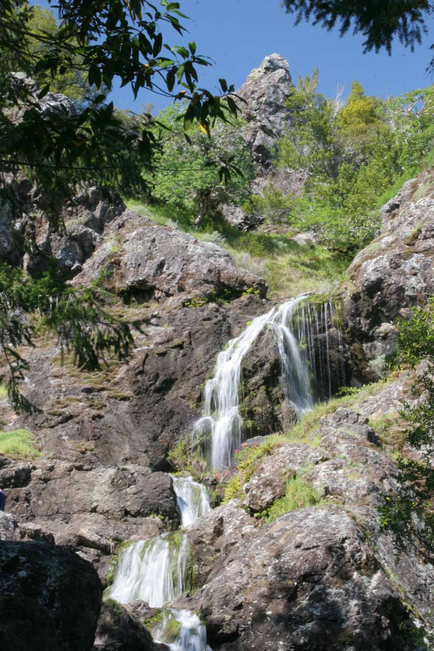 Looking back at the middle tiers of Carson Falls from a lower vantage point