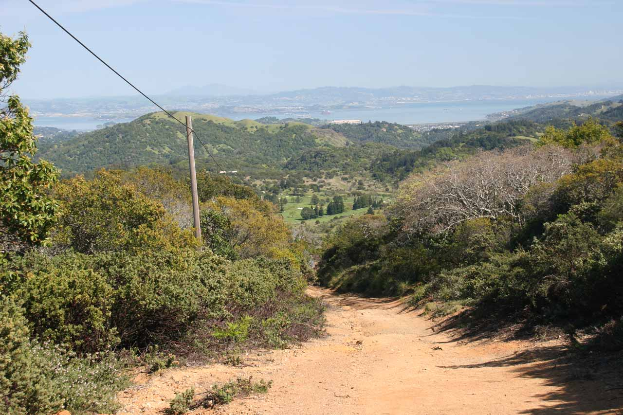 Looking back at the bay from the phone lines near the apex of Pine Mountain Road