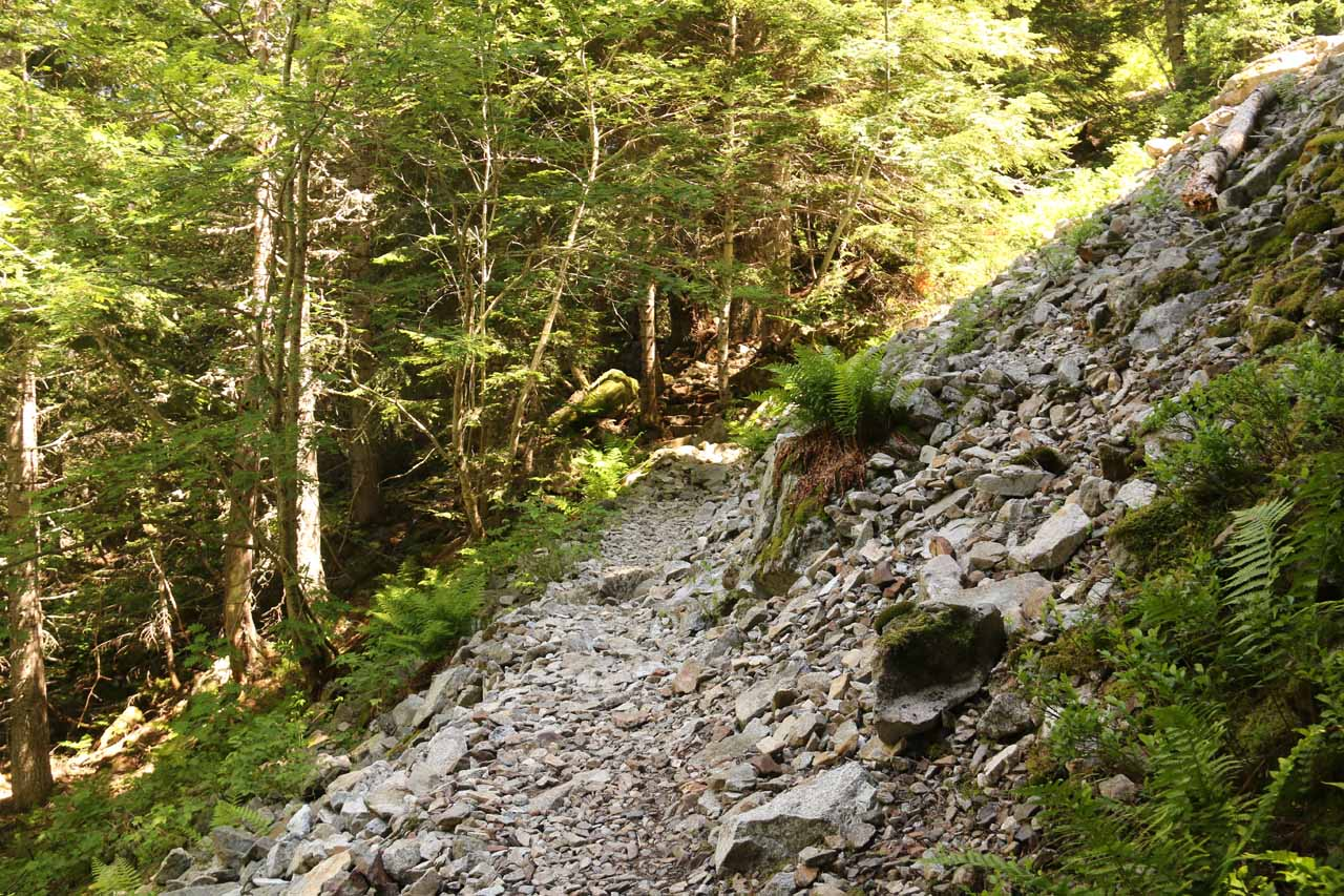 A section where the Cascada de Gerber trail traversed this rock slide area