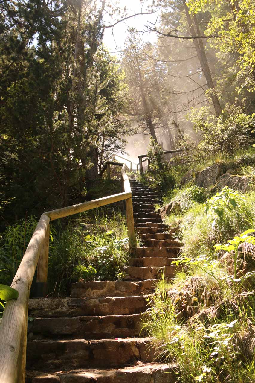 Climbing up the steps and approaching the misty chaos at the mirador Cascada de Gerber