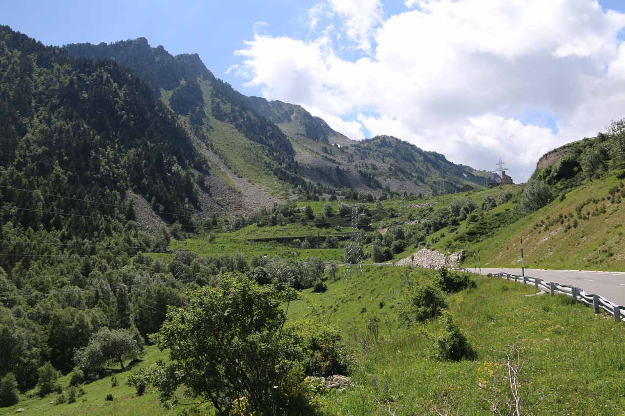 Looking back up the C-28 road towards the Bonaigua Pass from the stopping spot for Cascada de Gerber
