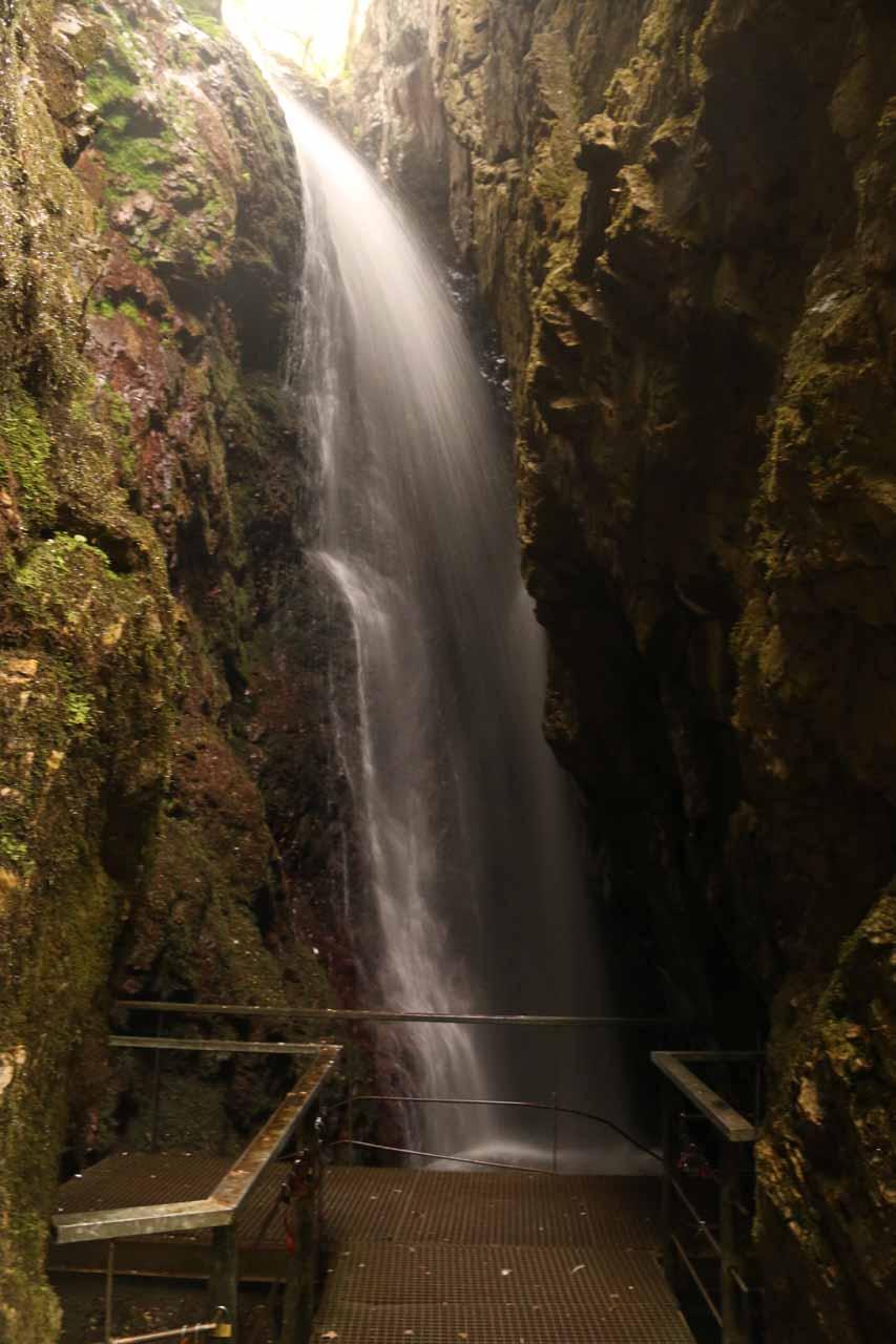 Direct look at the waterfall of Cascada de Nocedo