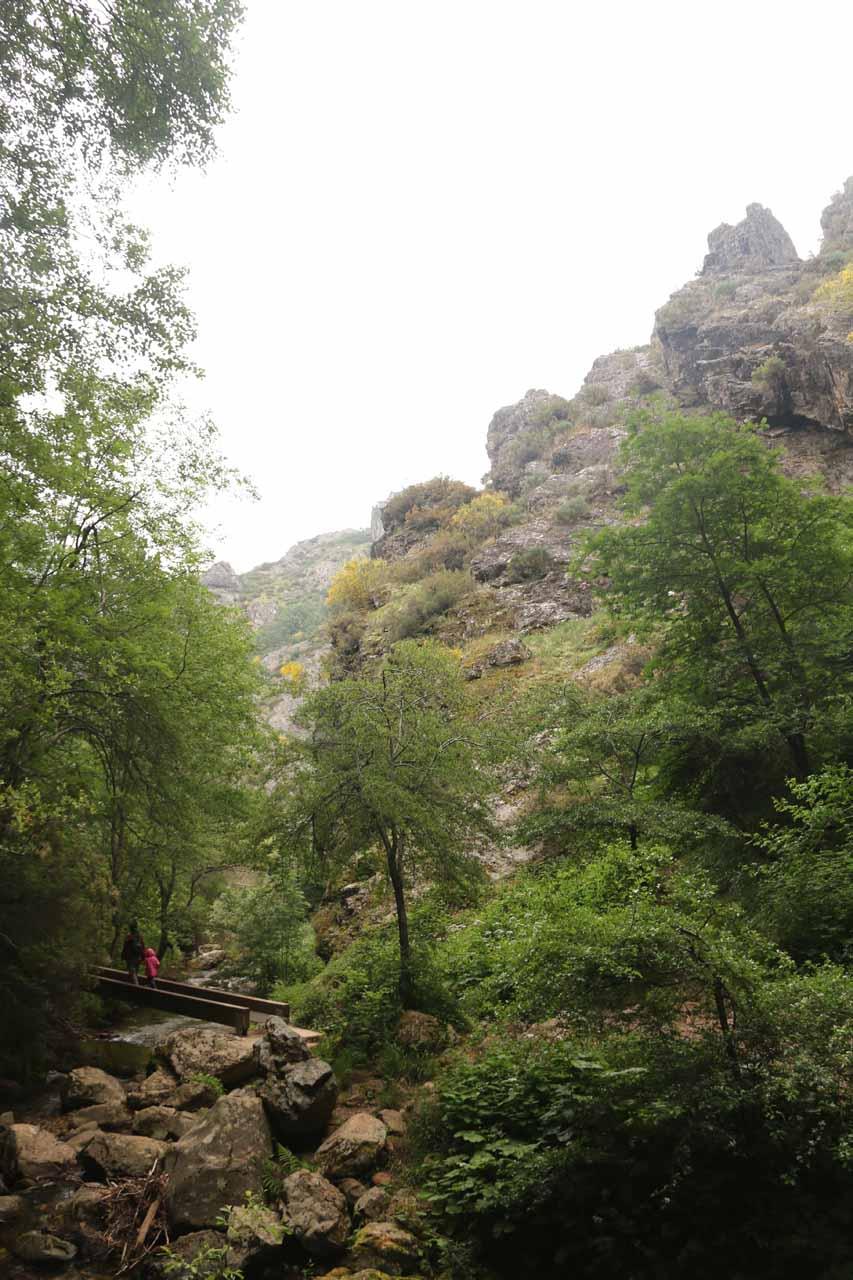 Looking back towards Julie and Tahia crossing over the second bridge before Cascada de Nocedo