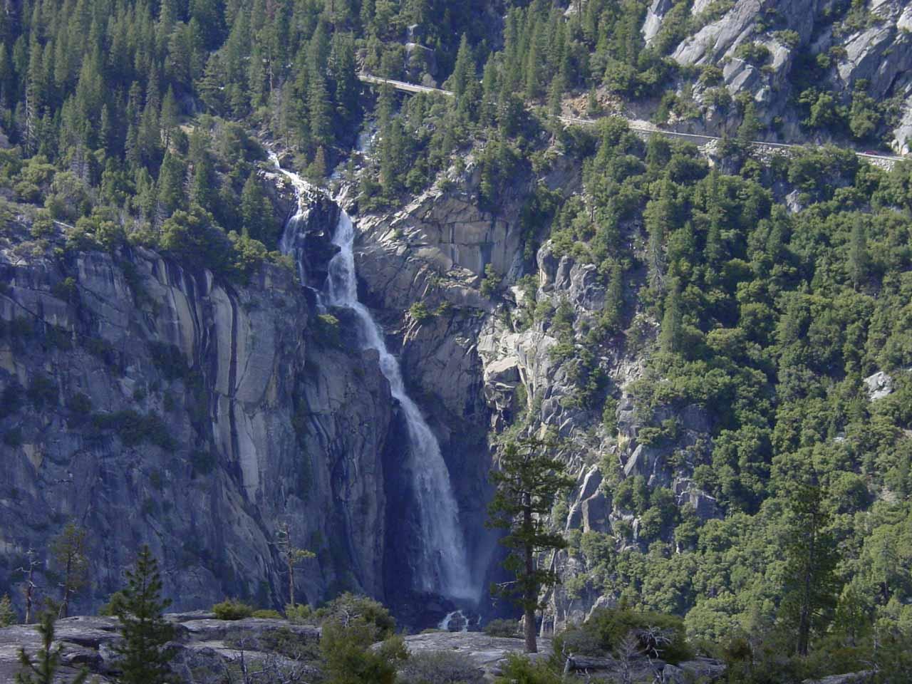Cascade Falls and the Big Oak Flat Road above it