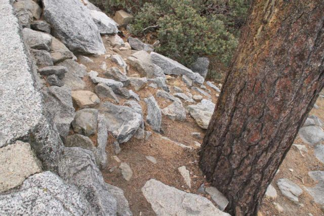 Cascade_Falls_001_06032011 - Rocks on the other side of the barricade providing tenuous footholds to reduce the dropoff