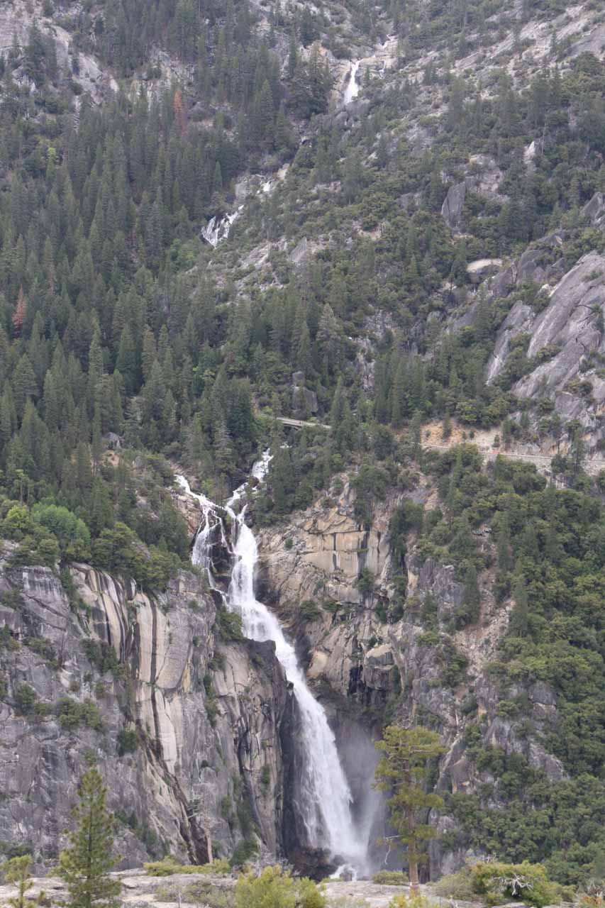 Cascade Falls viewed across Merced River Canyon from nearby Turtleback Dome