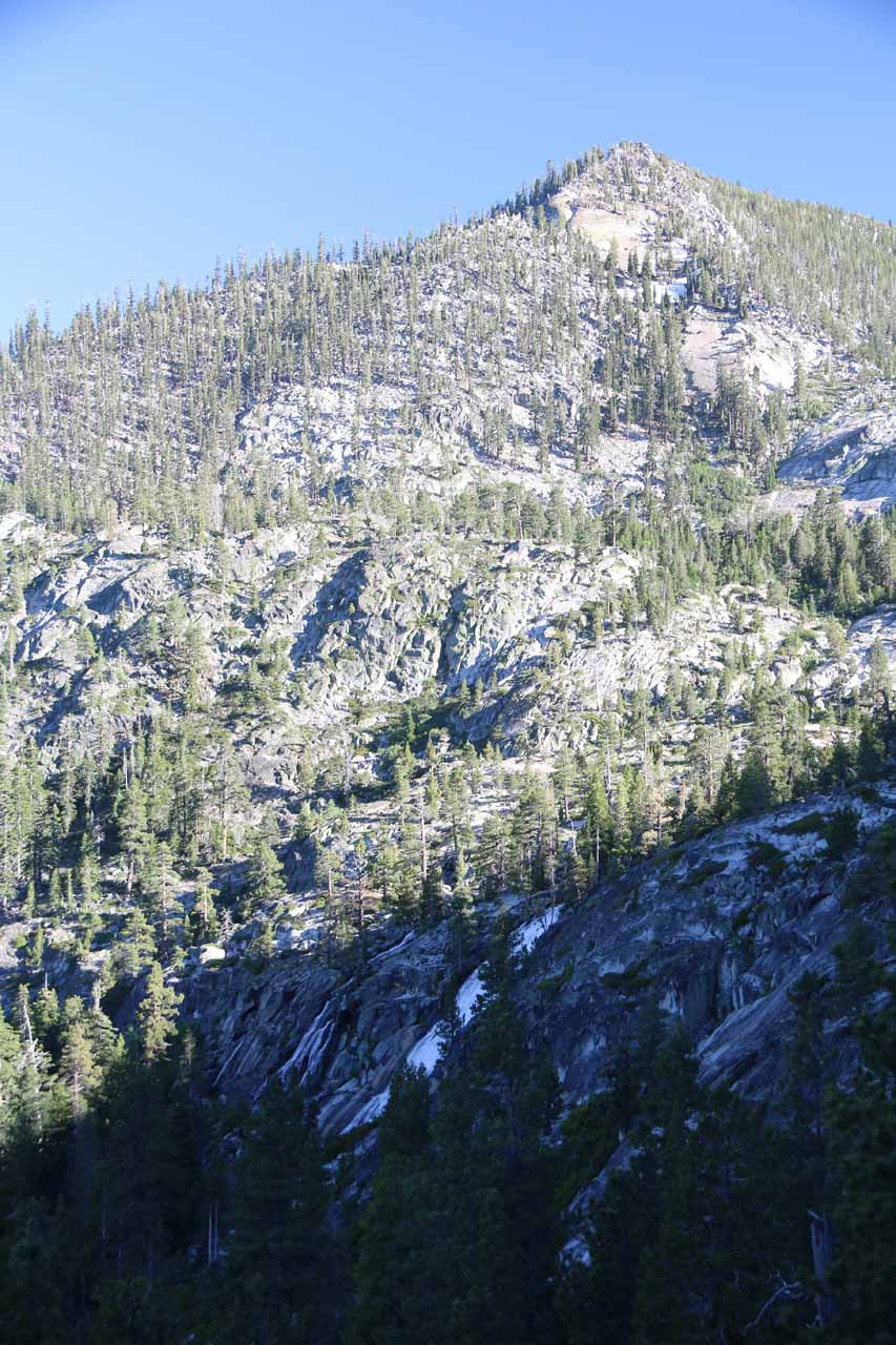 Continuing further along the trail, we started to get these views of Cascade Falls backed by some granite mountains