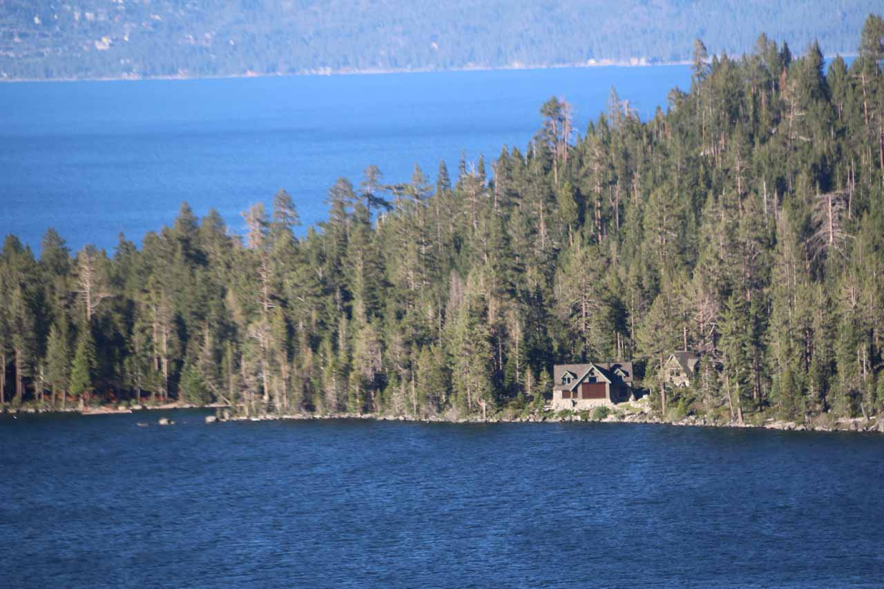 I noticed this lone house on the southern banks of Cascade Lake, and I wondered if this property owner was the main reason why sanctioned access to the base of Cascade Falls was prohibited (as my map showed there was a road that actually went there from Hwy 89)