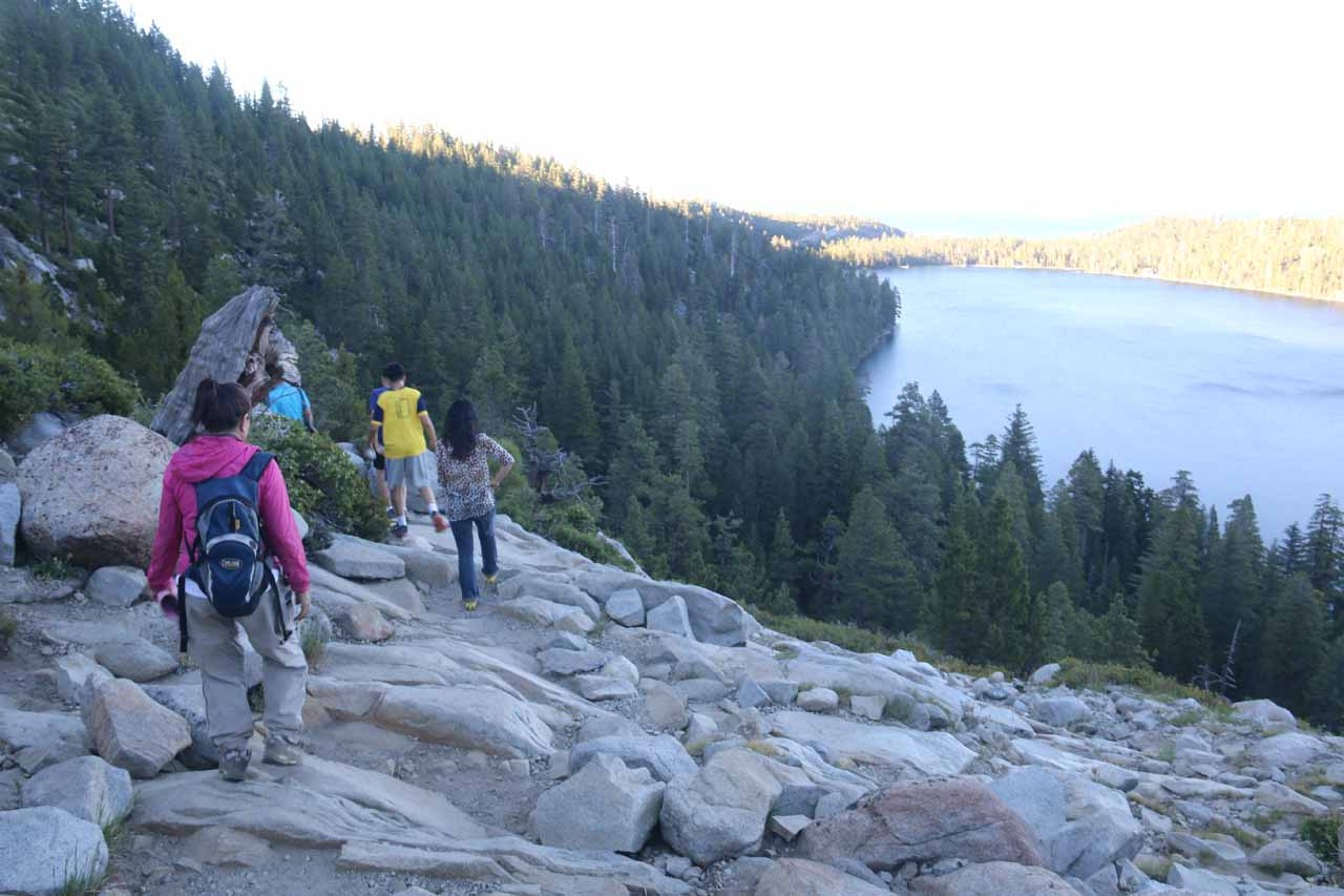 The hiking crew heading back to Bay View Campground while enjoying the views of Cascade Lake and Lake Tahoe all over again