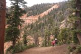 Cascade_Falls_Cedar_027_05252017 - Julie and Tahia continuing along the scenic Cascade Falls Trail amongst the pine trees and the red cliffs