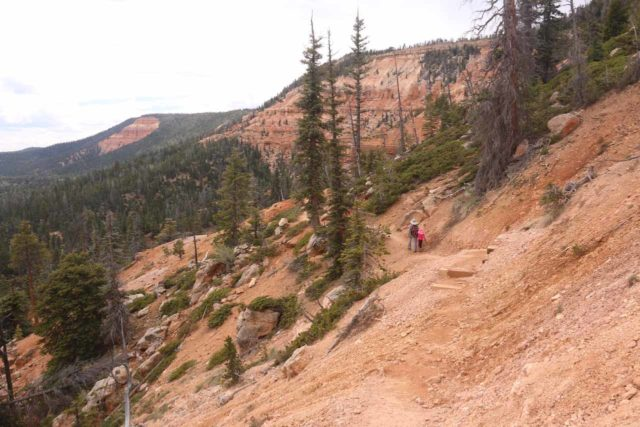 Cascade_Falls_Cedar_039_05252017 - Julie and Tahia on the Cascade Falls Trail hiking amongst Cedar Mountain cliffs reminiscent of Cedar Breaks National Monument