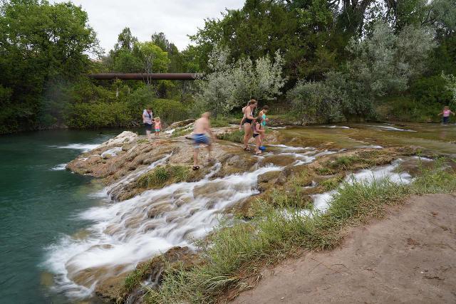 Cascade_Falls_Hot_Springs_023_07292020 - People having fun at the main drop of Cascade Falls