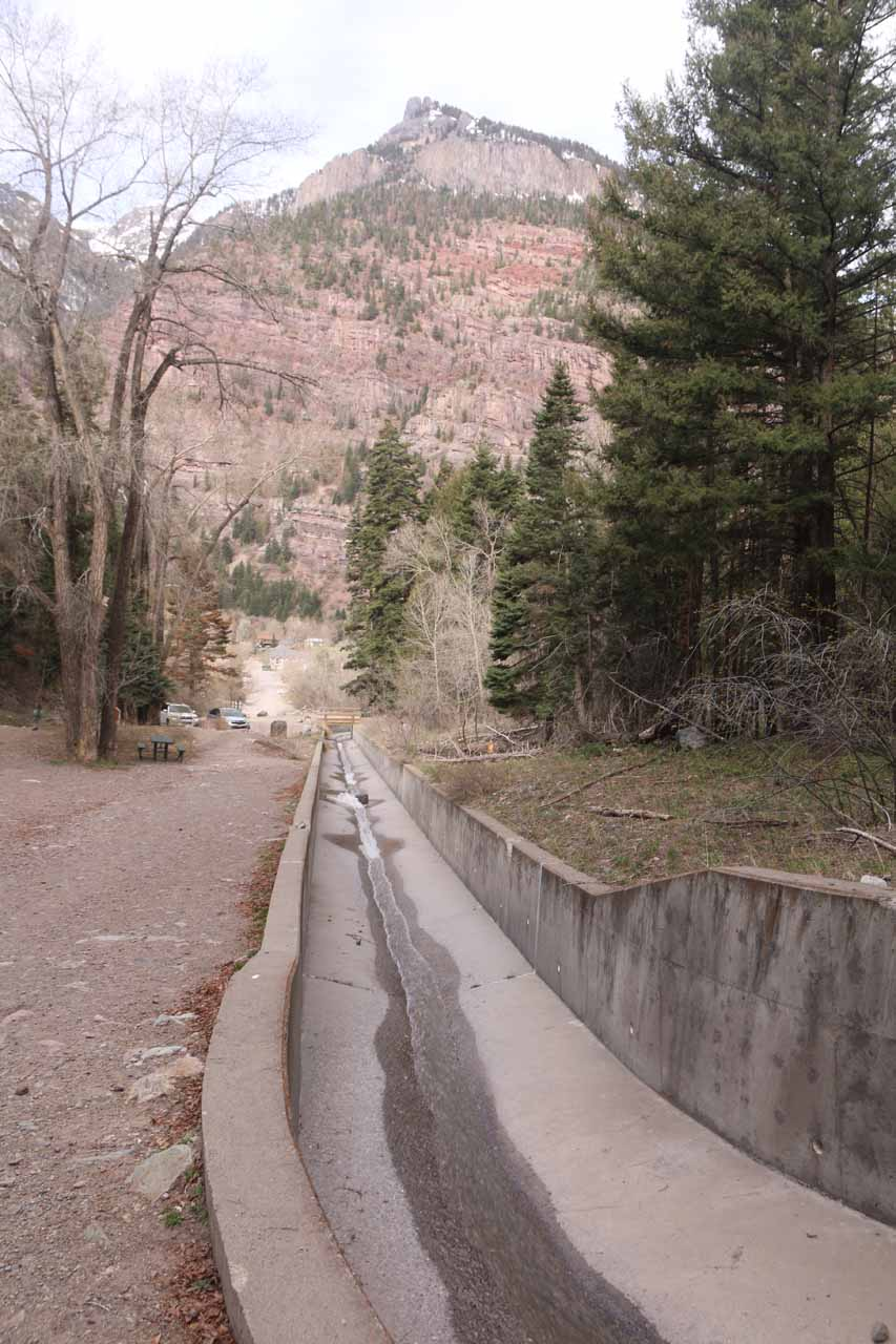 This was the concrete flume that was built for flash flood debris and damage control