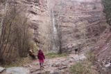Cascade_Falls_Ouray_032_04172017 - Tahia approaching the base of the Lower Cascade Falls in Ouray