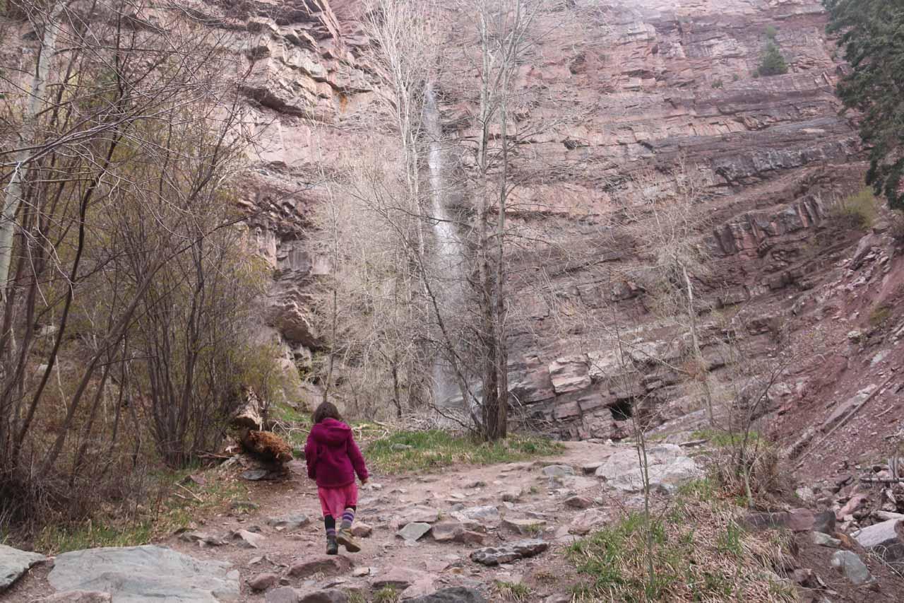 Tahia approaching the base of Cascade Falls