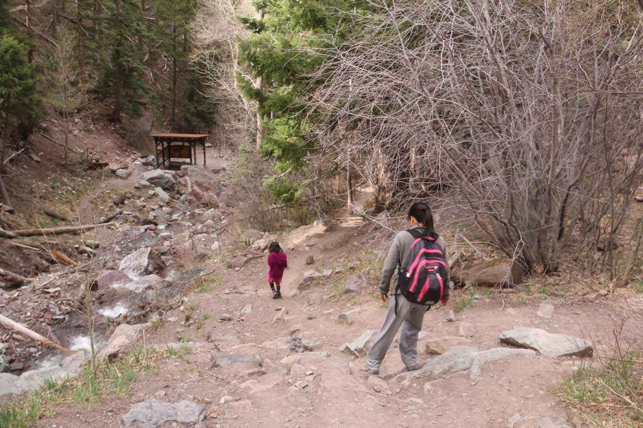 Tahia and Julie making their way back to the trailhead after having their fill of Cascade Falls