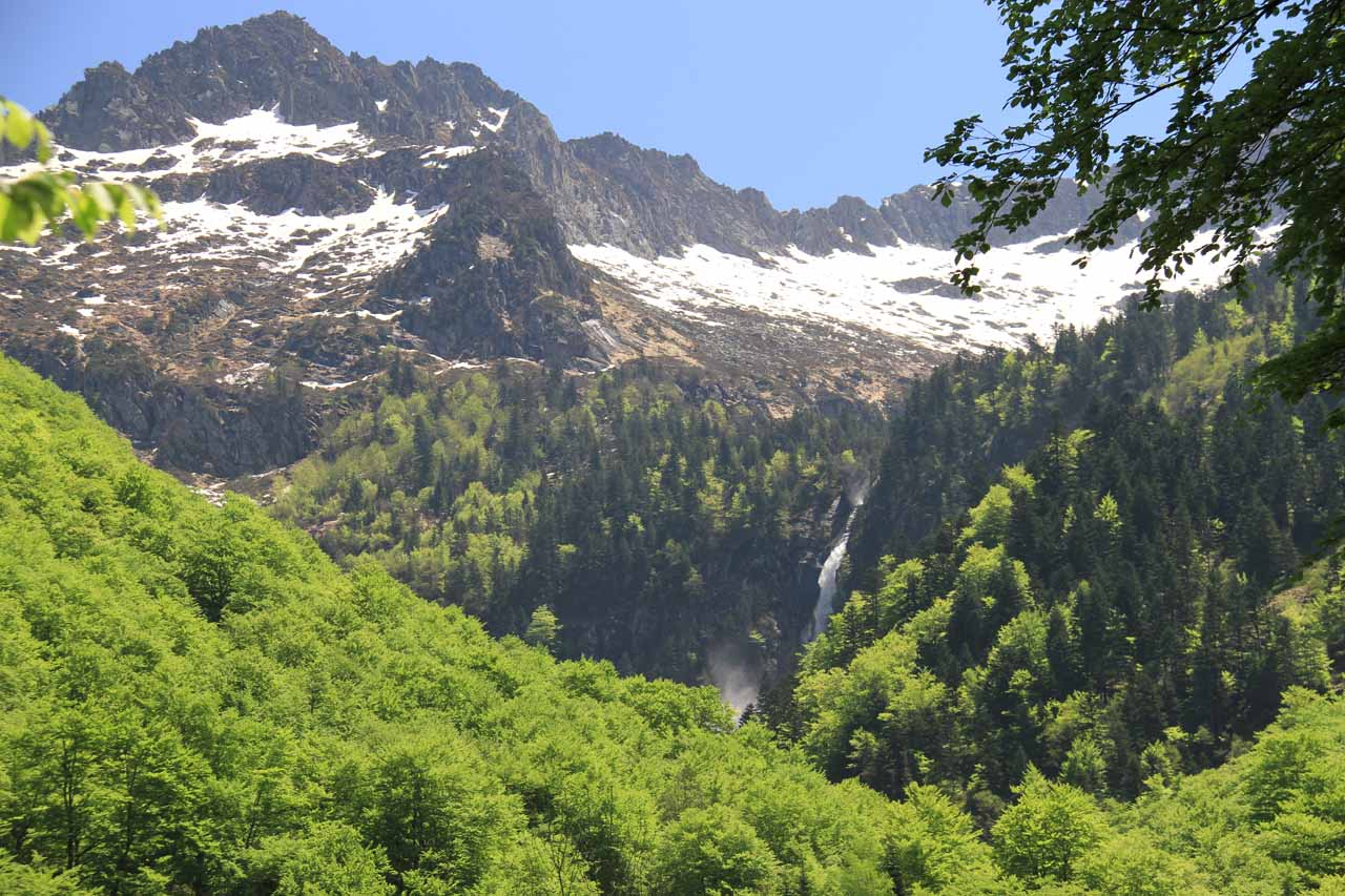 Finally starting to see Cascade d'Ars from the trail